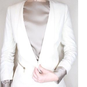 H&M White Blazer with Gold Detail